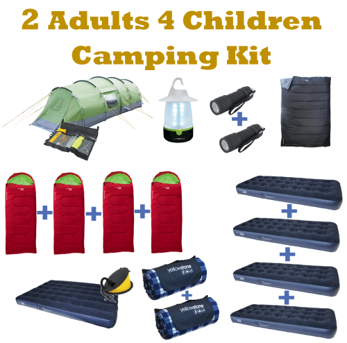 2 Adults & 4 Children Camping Kit